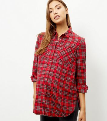 Maternity Red Check Long Sleeve Shirt - neckline: shirt collar/peter pan/zip with opening; pattern: checked/gingham; length: below the bottom; style: shirt; predominant colour: true red; secondary colour: mid grey; occasions: casual; fibres: cotton - 100%; fit: loose; sleeve length: long sleeve; sleeve style: standard; texture group: cotton feel fabrics; pattern type: fabric; season: a/w 2016; wardrobe: highlight