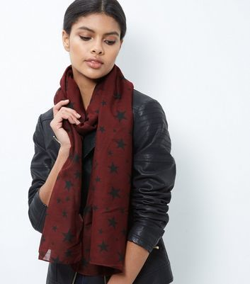 Burgundy Star Print Longline Scarf - predominant colour: burgundy; secondary colour: black; occasions: casual; type of pattern: light; style: regular; size: standard; material: fabric; pattern: patterned/print; multicoloured: multicoloured; season: a/w 2016; wardrobe: highlight
