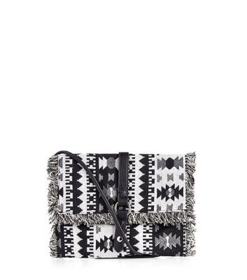 Black Tribal Textured Across Body Bag - predominant colour: white; secondary colour: black; occasions: casual; type of pattern: light; style: messenger; length: across body/long; size: standard; material: fabric; embellishment: tassels; finish: plain; pattern: patterned/print; multicoloured: multicoloured; season: a/w 2016