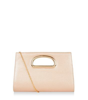 Bronze Metal Handle Clutch - predominant colour: nude; occasions: evening, occasion; type of pattern: standard; style: messenger; length: across body/long; size: standard; material: faux leather; pattern: plain; finish: metallic; season: a/w 2016; wardrobe: event