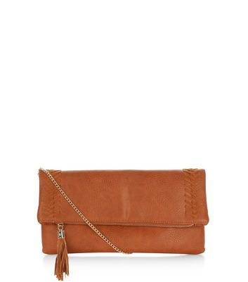 Tan Stitch Trim Clutch - predominant colour: tan; occasions: evening; type of pattern: standard; style: clutch; length: hand carry; size: standard; material: faux leather; embellishment: tassels; pattern: plain; finish: plain; season: a/w 2016; wardrobe: event