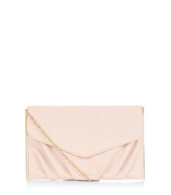 Stone Textured Metal Bar Trim Clutch - predominant colour: blush; occasions: evening; type of pattern: standard; style: clutch; length: hand carry; size: standard; material: faux leather; pattern: plain; finish: plain; embellishment: chain/metal; season: a/w 2016; wardrobe: event