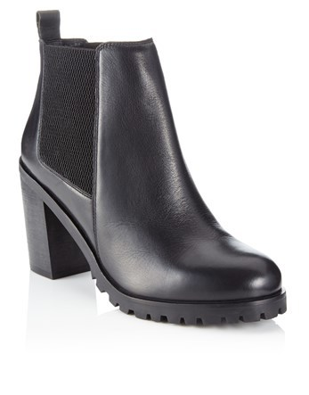 Leather Ankle Boots - predominant colour: black; occasions: casual; material: leather; heel height: high; embellishment: elasticated; heel: block; toe: round toe; boot length: ankle boot; finish: plain; pattern: plain; style: chelsea; shoe detail: platform with tread; season: a/w 2016; wardrobe: highlight