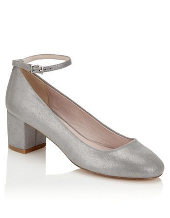 Ankle Strap Pumps - predominant colour: silver; occasions: evening; material: faux leather; heel height: mid; ankle detail: ankle strap; heel: block; toe: round toe; style: courts; finish: metallic; pattern: plain; season: a/w 2016; wardrobe: event