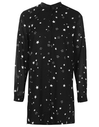 Petite Star Print Shirt Dress - style: shift; length: mid thigh; neckline: shirt collar/peter pan/zip with opening; secondary colour: white; predominant colour: black; occasions: evening; fit: straight cut; fibres: polyester/polyamide - 100%; sleeve length: long sleeve; sleeve style: standard; pattern type: fabric; pattern: patterned/print; texture group: jersey - stretchy/drapey; multicoloured: multicoloured; season: a/w 2016; wardrobe: event