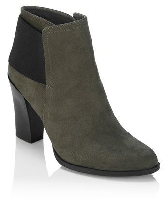 Ankle Boots - predominant colour: khaki; occasions: casual; heel height: high; embellishment: elasticated; heel: block; toe: round toe; boot length: ankle boot; style: standard; finish: plain; pattern: plain; material: faux suede; season: a/w 2016; wardrobe: highlight