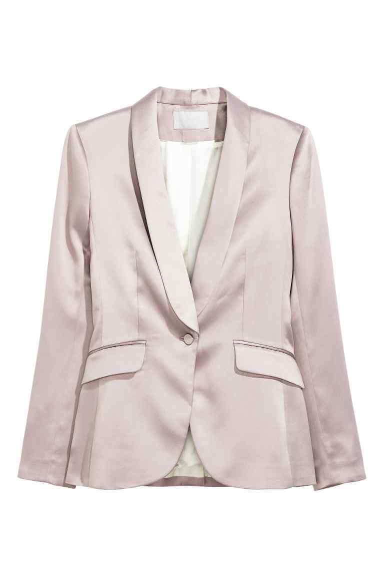 Tuxedo Jacket - pattern: plain; style: single breasted blazer; collar: shawl/waterfall; predominant colour: blush; length: standard; fit: tailored/fitted; fibres: polyester/polyamide - 100%; sleeve length: long sleeve; sleeve style: standard; texture group: structured shiny - satin/tafetta/silk etc.; collar break: low/open; pattern type: fabric; occasions: creative work; season: a/w 2016
