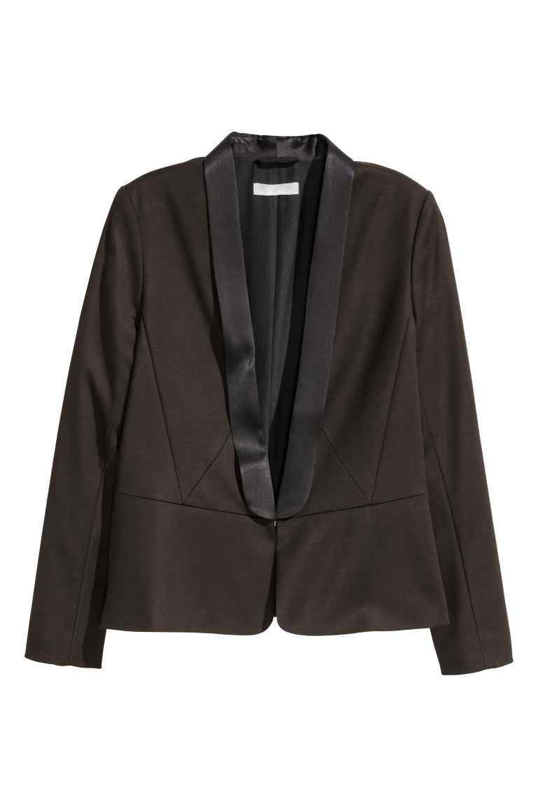 Tuxedo Jacket - pattern: plain; style: single breasted blazer; collar: shawl/waterfall; predominant colour: black; occasions: evening; length: standard; fit: tailored/fitted; fibres: cotton - stretch; sleeve length: long sleeve; sleeve style: standard; collar break: low/open; pattern type: fabric; texture group: woven light midweight; season: a/w 2016