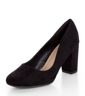 Wide Fit Black Suedette Block Heel Court Shoes - predominant colour: black; occasions: evening; material: faux leather; heel height: high; heel: block; toe: round toe; style: courts; finish: plain; pattern: plain; season: a/w 2016; wardrobe: event