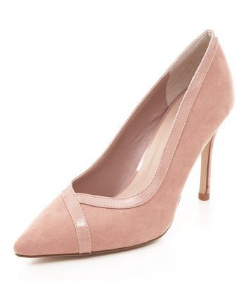Stone Suedette Contrast Trim Pointed Court Shoes - predominant colour: blush; occasions: evening; material: suede; heel height: high; heel: stiletto; toe: pointed toe; style: courts; finish: plain; pattern: plain; season: a/w 2016
