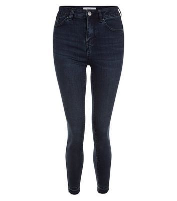 Navy Drop Hem Ankle Grazer Skinny Jeans - style: skinny leg; length: standard; pattern: plain; pocket detail: traditional 5 pocket; waist: mid/regular rise; predominant colour: navy; occasions: casual; fibres: cotton - stretch; texture group: denim; pattern type: fabric; wardrobe: basic; season: a/w 2016