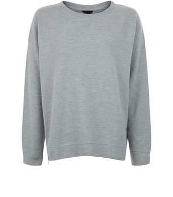 Grey Ribbed Sweater - pattern: plain; style: standard; predominant colour: light grey; occasions: casual; length: standard; fibres: cotton - mix; fit: loose; neckline: crew; sleeve length: long sleeve; sleeve style: standard; pattern type: fabric; texture group: jersey - stretchy/drapey; season: a/w 2016; wardrobe: highlight