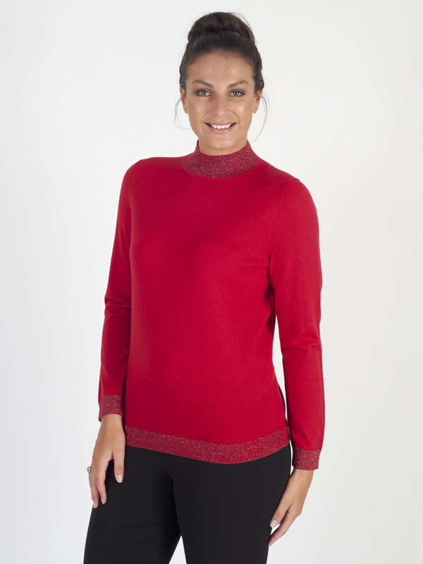Basler Soft Knit Red Turtle Neck Jumper - pattern: plain; neckline: roll neck; style: standard; predominant colour: true red; occasions: casual; length: standard; fibres: wool - 100%; fit: standard fit; sleeve length: long sleeve; sleeve style: standard; texture group: knits/crochet; pattern type: knitted - fine stitch; season: a/w 2016; wardrobe: highlight