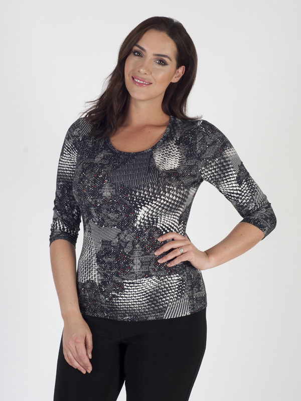 Basler Printed Jersey Top - neckline: round neck; secondary colour: white; predominant colour: charcoal; occasions: casual; length: standard; style: top; fibres: viscose/rayon - stretch; fit: body skimming; sleeve length: 3/4 length; sleeve style: standard; pattern type: fabric; pattern: patterned/print; texture group: jersey - stretchy/drapey; multicoloured: multicoloured; season: a/w 2016