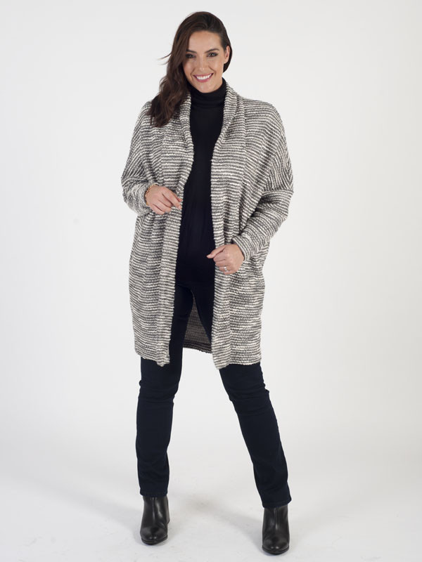 Ronen Chen Longline Cardigan - neckline: collarless open; style: open front; length: on the knee; predominant colour: light grey; occasions: casual; fibres: cotton - mix; fit: loose; sleeve length: long sleeve; sleeve style: standard; texture group: knits/crochet; pattern type: knitted - fine stitch; pattern size: standard; pattern: marl; season: a/w 2016