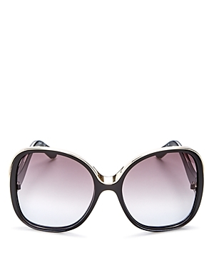 Mandy Oversized Square Sunglasses, 59mm - predominant colour: black; occasions: casual, holiday; style: round; size: large; material: plastic/rubber; pattern: plain; finish: plain; wardrobe: basic; season: a/w 2016