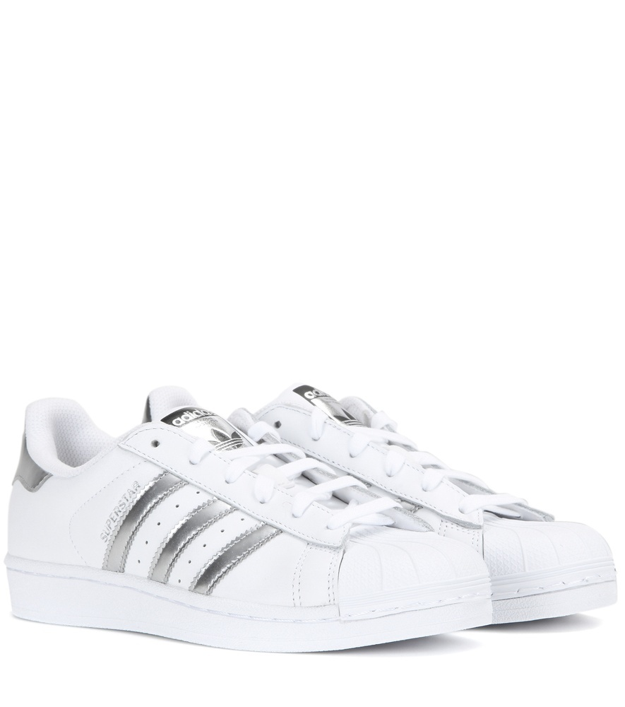Superstar Leather Sneakers - predominant colour: white; occasions: casual; material: leather; heel height: flat; toe: round toe; style: trainers; finish: plain; pattern: striped; season: a/w 2016; wardrobe: highlight