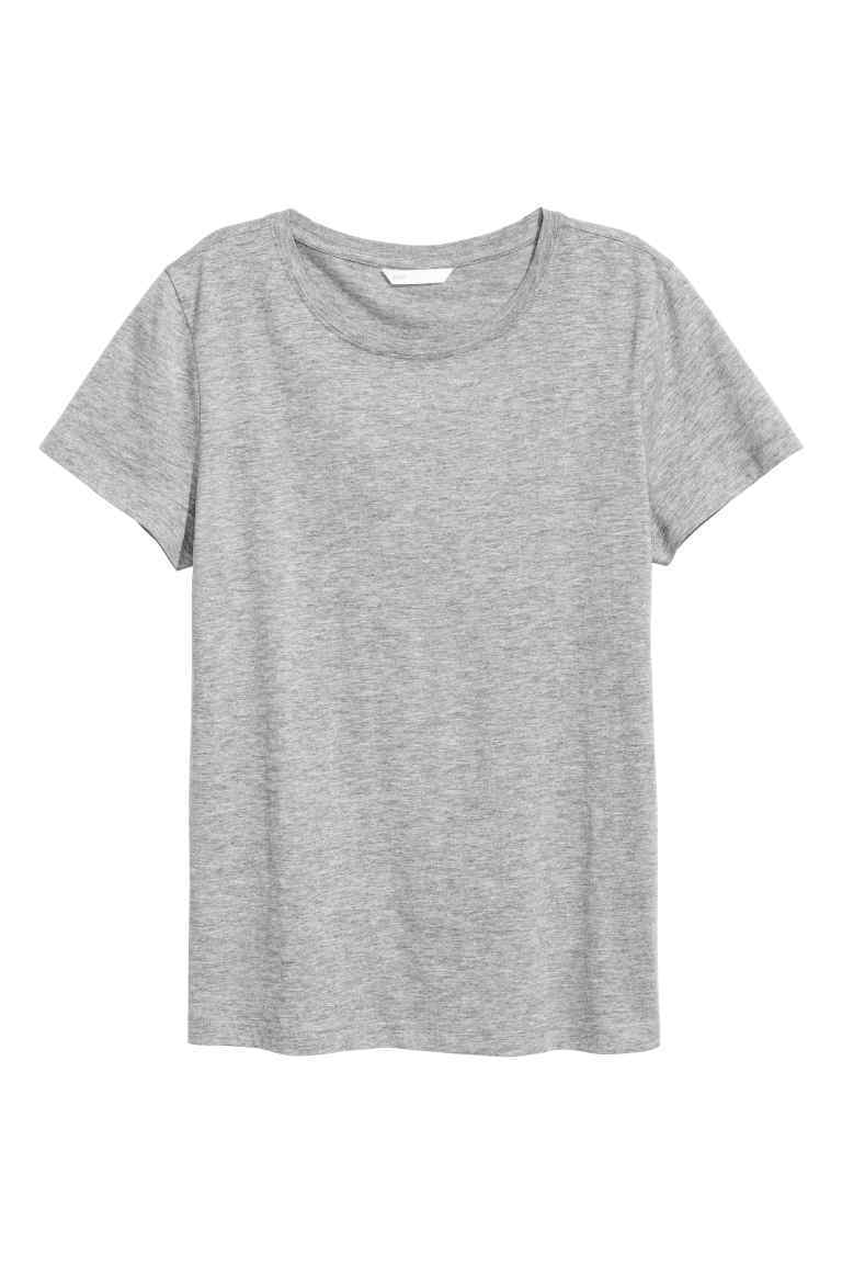 Cotton T Shirt - pattern: plain; style: t-shirt; predominant colour: mid grey; occasions: casual, creative work; length: standard; fibres: cotton - stretch; fit: body skimming; neckline: crew; sleeve length: short sleeve; sleeve style: standard; texture group: jersey - clingy; pattern type: fabric; wardrobe: basic; season: a/w 2016