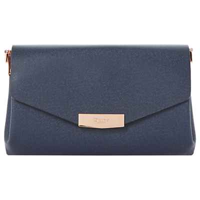 Exie Clutch Bag - predominant colour: navy; occasions: evening, occasion; type of pattern: standard; style: clutch; length: hand carry; size: standard; material: faux leather; pattern: plain; finish: plain; season: a/w 2016; wardrobe: event