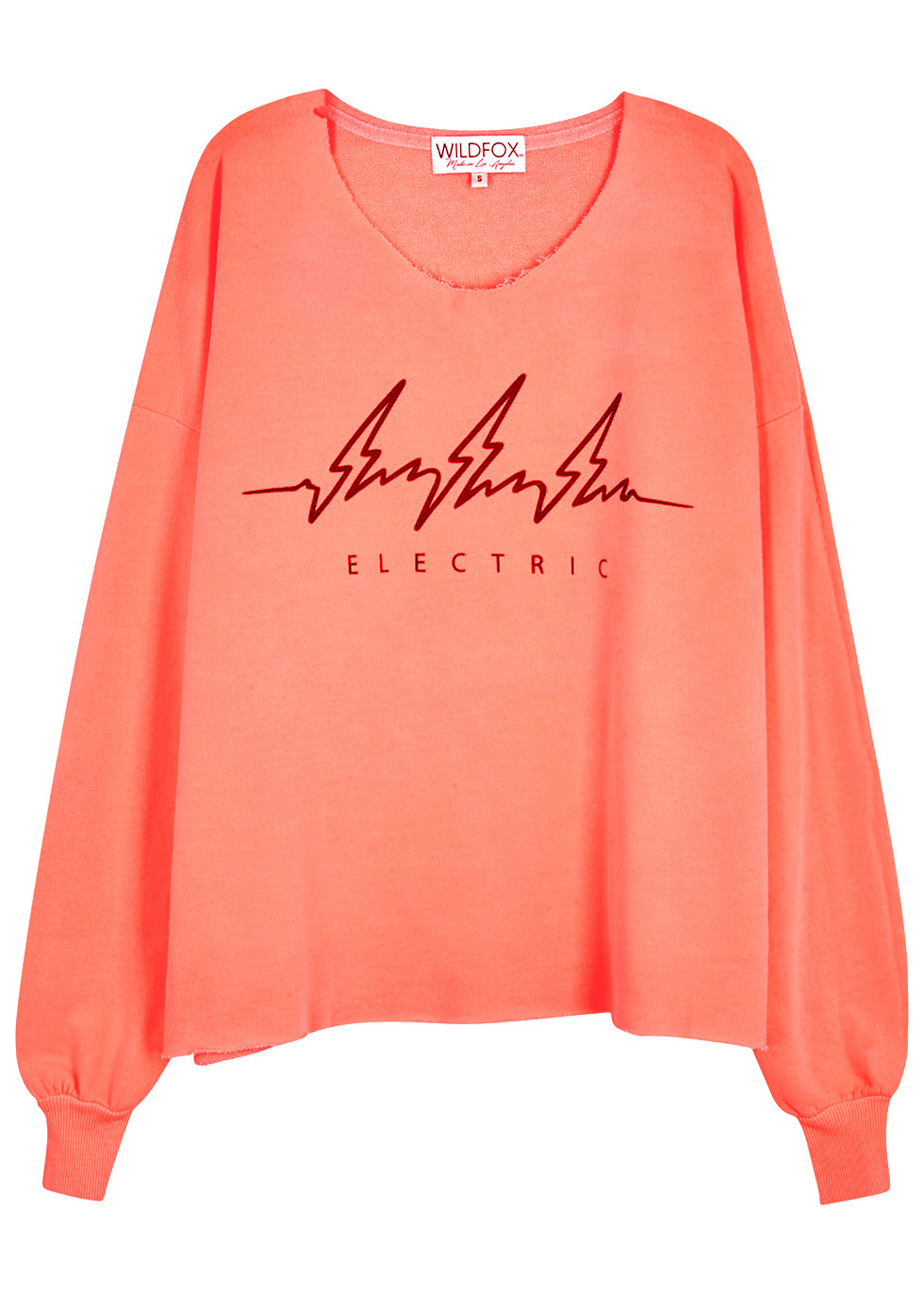 Electric 5 Am Neon Coral Jersey Sweatshirt Size - neckline: round neck; style: sweat top; sleeve style: balloon; secondary colour: burgundy; predominant colour: coral; occasions: casual; length: standard; fibres: cotton - mix; fit: loose; sleeve length: long sleeve; pattern type: fabric; pattern size: standard; pattern: patterned/print; texture group: jersey - stretchy/drapey; season: a/w 2016; wardrobe: highlight
