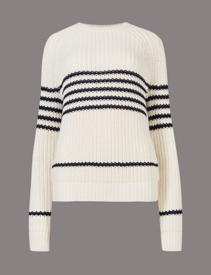 Striped Chunky Jumper - neckline: round neck; pattern: horizontal stripes; style: standard; predominant colour: ivory/cream; occasions: casual, work, creative work; length: standard; fibres: cotton - mix; fit: standard fit; sleeve length: long sleeve; sleeve style: standard; texture group: knits/crochet; pattern type: knitted - other; pattern size: standard; season: a/w 2016; wardrobe: highlight; trends: monochrome