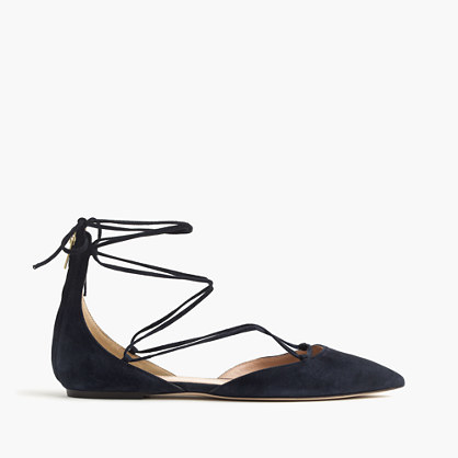 Suede Lace Up Pointed Toe Flats - predominant colour: black; occasions: casual; material: suede; heel height: flat; ankle detail: ankle tie; toe: pointed toe; style: ballerinas / pumps; finish: plain; pattern: plain; wardrobe: basic; season: s/s 2017