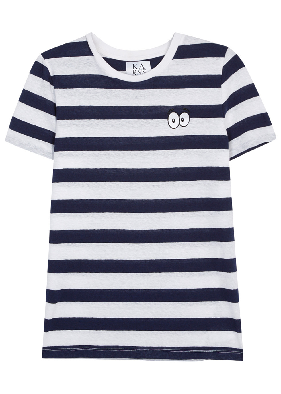 Striped Slubbed Cotton Blend T Shirt - pattern: horizontal stripes; length: below the bottom; style: t-shirt; secondary colour: white; predominant colour: navy; occasions: casual, creative work; fibres: cotton - mix; fit: straight cut; neckline: crew; sleeve length: short sleeve; sleeve style: standard; pattern type: fabric; pattern size: standard; texture group: jersey - stretchy/drapey; wardrobe: basic; season: s/s 2017