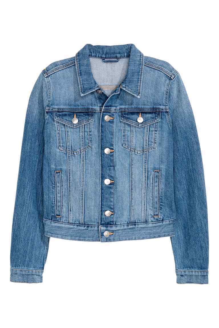 Denim Jacket - pattern: plain; style: denim; fit: slim fit; predominant colour: denim; occasions: casual, creative work; length: standard; fibres: cotton - stretch; collar: shirt collar/peter pan/zip with opening; sleeve length: long sleeve; sleeve style: standard; texture group: denim; collar break: high; pattern type: fabric; wardrobe: basic; season: s/s 2017