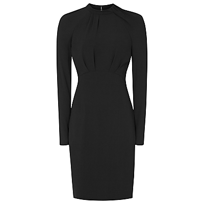 Irenina High Neck Dress, Black - style: shift; fit: tailored/fitted; pattern: plain; neckline: high neck; predominant colour: charcoal; occasions: evening, work, occasion; length: just above the knee; fibres: polyester/polyamide - 100%; sleeve length: long sleeve; sleeve style: standard; texture group: crepes; pattern type: fabric; wardrobe: investment; season: s/s 2017; embellishment location: bust