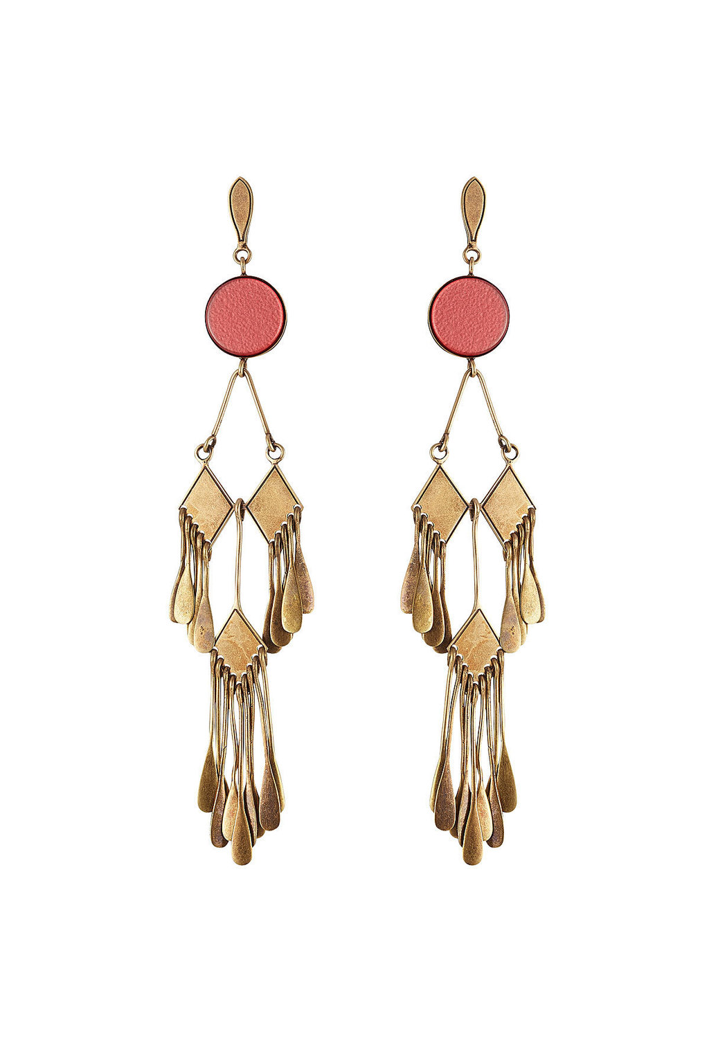 Chandelier Earrings - secondary colour: pink; predominant colour: gold; occasions: evening, occasion; style: drop; length: long; size: standard; material: chain/metal; fastening: pierced; finish: metallic; embellishment: chain/metal; wardrobe: event; season: s/s 2017