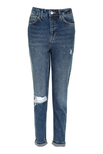 Moto Dark Blue Ripped Mom Jeans - length: standard; pattern: plain; pocket detail: traditional 5 pocket; waist: mid/regular rise; style: tapered; predominant colour: navy; occasions: casual; fibres: cotton - 100%; jeans detail: whiskering, rips; jeans & bottoms detail: turn ups; texture group: denim; pattern type: fabric; wardrobe: basic; season: s/s 2017