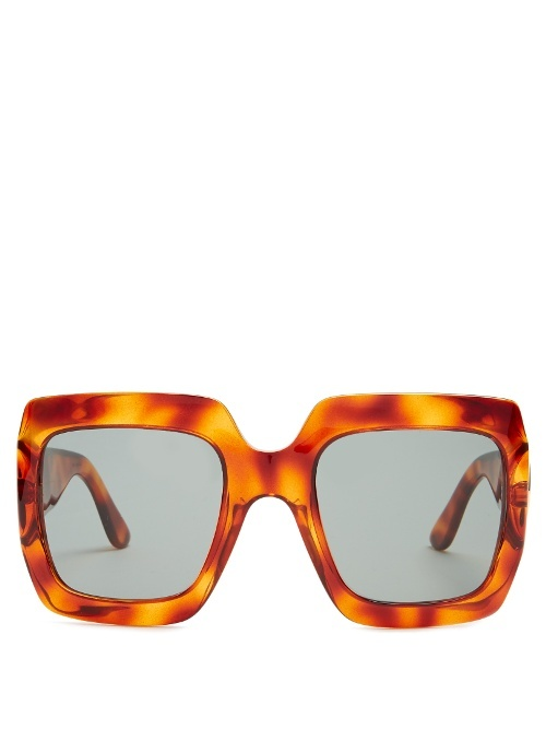 Oversized Square Frame Sunglasses - predominant colour: tan; occasions: casual, holiday; style: square; size: large; material: plastic/rubber; pattern: tortoiseshell; finish: plain; wardrobe: highlight; season: s/s 2017