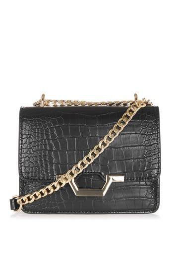 Kylie Chain Crossbody Bag - predominant colour: black; occasions: casual, creative work; type of pattern: standard; style: shoulder; length: across body/long; size: small; material: faux leather; pattern: plain; finish: plain; wardrobe: investment; season: s/s 2017