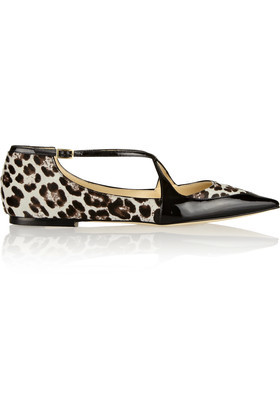 Gamble Patent Trimmed Calf Hair Point Toe Flats Black - predominant colour: ivory/cream; secondary colour: black; occasions: casual; material: animal skin; heel height: flat; toe: pointed toe; style: ballerinas / pumps; finish: patent; pattern: animal print; multicoloured: multicoloured; wardrobe: highlight; season: s/s 2017