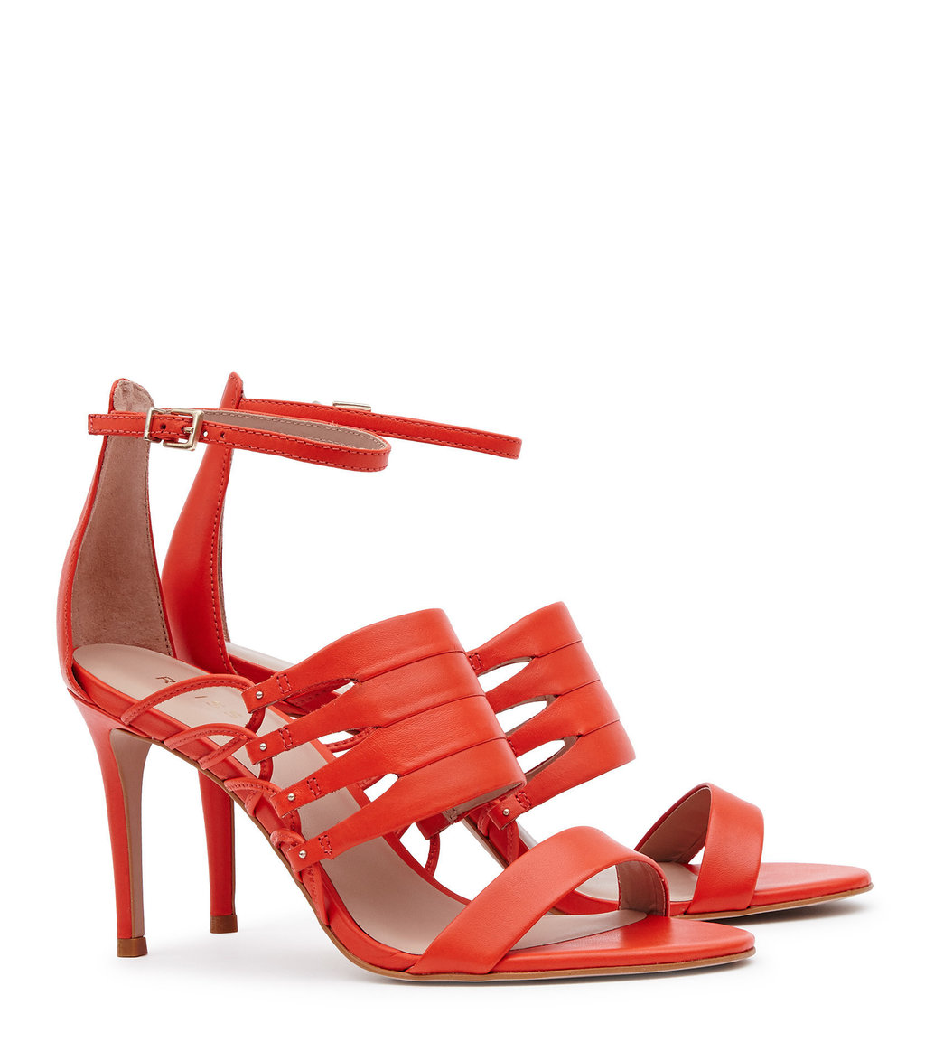 Ravenna Womens Strappy Open Toe Shoes In Red - predominant colour: true red; occasions: evening, occasion; material: leather; heel height: high; ankle detail: ankle strap; heel: stiletto; toe: open toe/peeptoe; style: courts; finish: plain; pattern: plain; wardrobe: event; season: s/s 2017