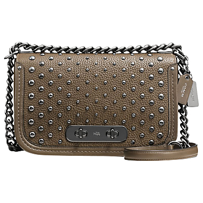 Swagger Leather Shoulder Bag - predominant colour: khaki; occasions: casual, creative work; type of pattern: standard; style: shoulder; length: shoulder (tucks under arm); size: small; material: leather; pattern: plain; finish: metallic; embellishment: chain/metal; wardrobe: investment; season: a/w 2016