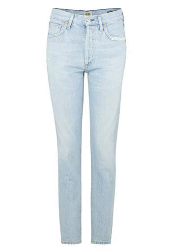 Liya Straight Jean In Rock On - style: straight leg; length: standard; pattern: plain; waist: high rise; predominant colour: pale blue; occasions: casual; fibres: cotton - stretch; jeans detail: shading down centre of thigh, washed/faded; texture group: denim; pattern type: fabric; wardrobe: basic; season: s/s 2017