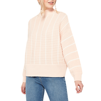 Chunky Funnel Neck Jumper, Pink - pattern: horizontal stripes; neckline: high neck; style: standard; predominant colour: blush; occasions: casual, creative work; length: standard; fibres: acrylic - 100%; fit: standard fit; sleeve length: long sleeve; sleeve style: standard; texture group: knits/crochet; pattern type: knitted - other; pattern size: big & busy (top); wardrobe: highlight; season: s/s 2017