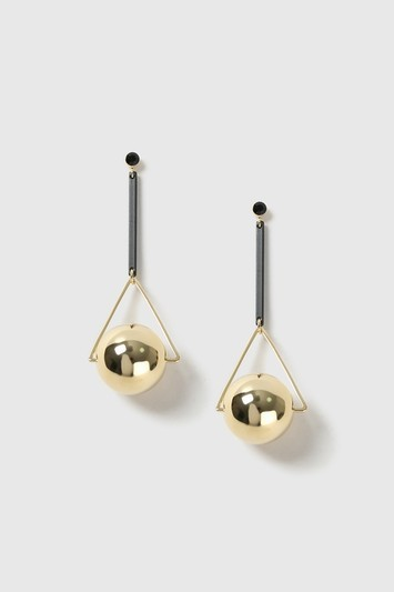 Large Stick Ball Drop Earrings - predominant colour: silver; secondary colour: gold; occasions: evening; style: drop; length: mid; size: standard; material: chain/metal; fastening: pierced; finish: metallic; wardrobe: event; season: s/s 2017