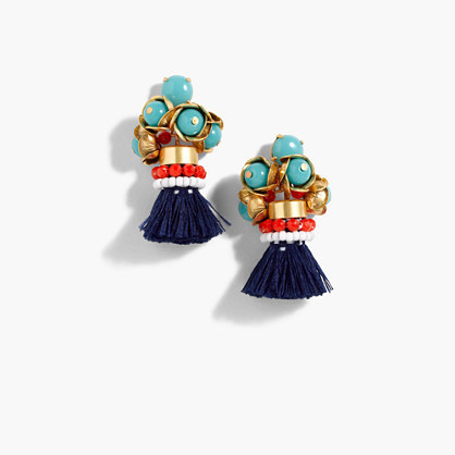 Fun Tassel Earrings - secondary colour: navy; predominant colour: gold; occasions: evening, occasion; style: drop; length: mid; size: standard; material: chain/metal; fastening: pierced; finish: metallic; embellishment: beading; multicoloured: multicoloured; wardrobe: event; season: s/s 2017