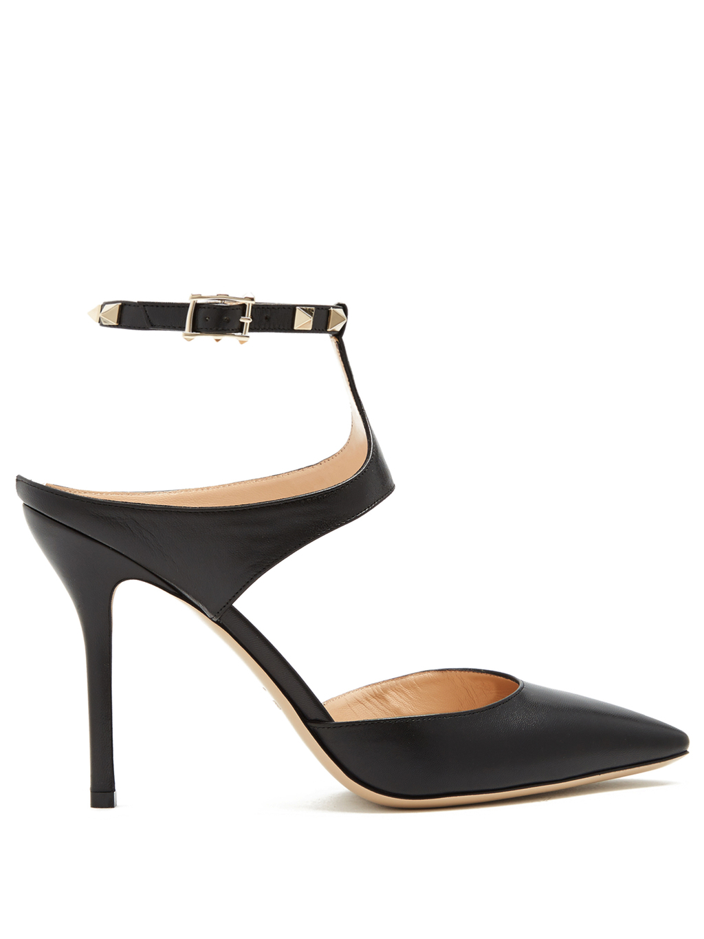 Rockstud Point Toe Leather Pumps - predominant colour: black; occasions: evening, occasion, creative work; material: leather; heel height: high; embellishment: studs; ankle detail: ankle strap; heel: stiletto; toe: pointed toe; style: courts; finish: plain; pattern: plain; wardrobe: highlight; season: s/s 2017