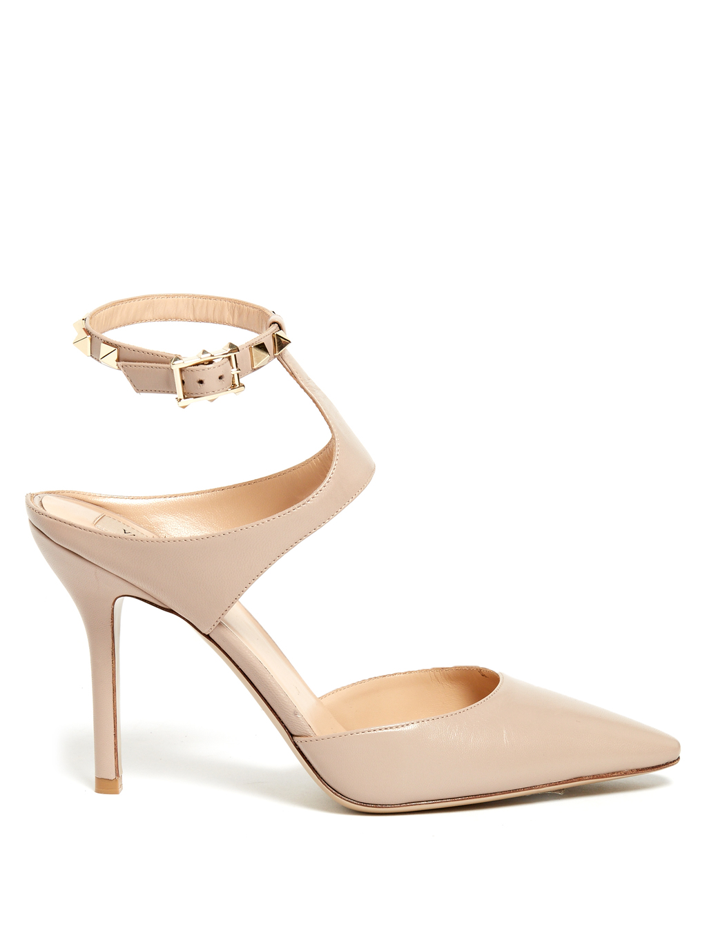 Rockstud Point Toe Leather Pumps - predominant colour: nude; occasions: evening, occasion; material: leather; heel height: high; ankle detail: ankle strap; heel: stiletto; toe: pointed toe; style: courts; finish: patent; pattern: plain; wardrobe: event; season: s/s 2017