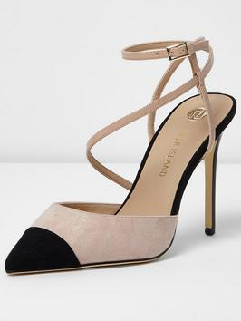Simion Two Part Court Shoe - predominant colour: nude; secondary colour: black; occasions: evening; ankle detail: ankle tie; heel: stiletto; toe: pointed toe; style: courts; finish: plain; pattern: colourblock; heel height: very high; material: faux suede; multicoloured: multicoloured; wardrobe: event; season: s/s 2017