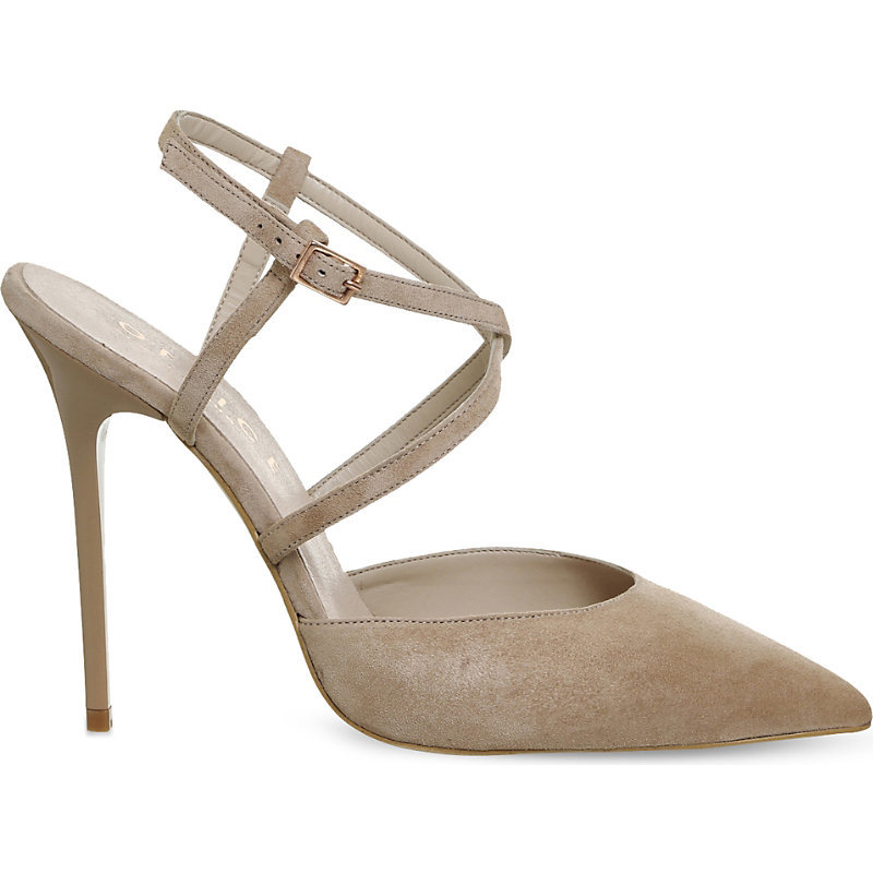 Here We Go Strappy Suede Courts, Women's, Nude Suede - predominant colour: stone; occasions: evening, occasion; material: suede; ankle detail: ankle strap; heel: stiletto; toe: pointed toe; style: courts; finish: plain; pattern: plain; heel height: very high; wardrobe: event; season: s/s 2017