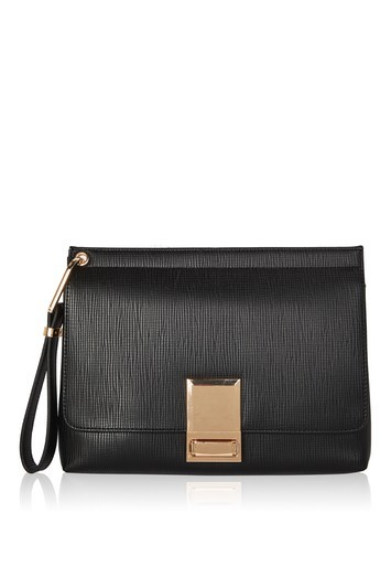 Colby Lock Clutch - predominant colour: black; occasions: evening; type of pattern: standard; style: clutch; length: hand carry; size: standard; material: faux leather; pattern: plain; finish: plain; wardrobe: event; season: s/s 2017