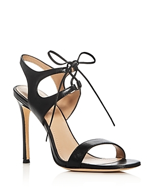 Elisa Lace Up High Heel Sandals - predominant colour: black; occasions: evening, occasion; material: leather; heel height: high; ankle detail: ankle tie; heel: standard; toe: open toe/peeptoe; style: standard; finish: plain; pattern: plain; wardrobe: event; season: s/s 2017