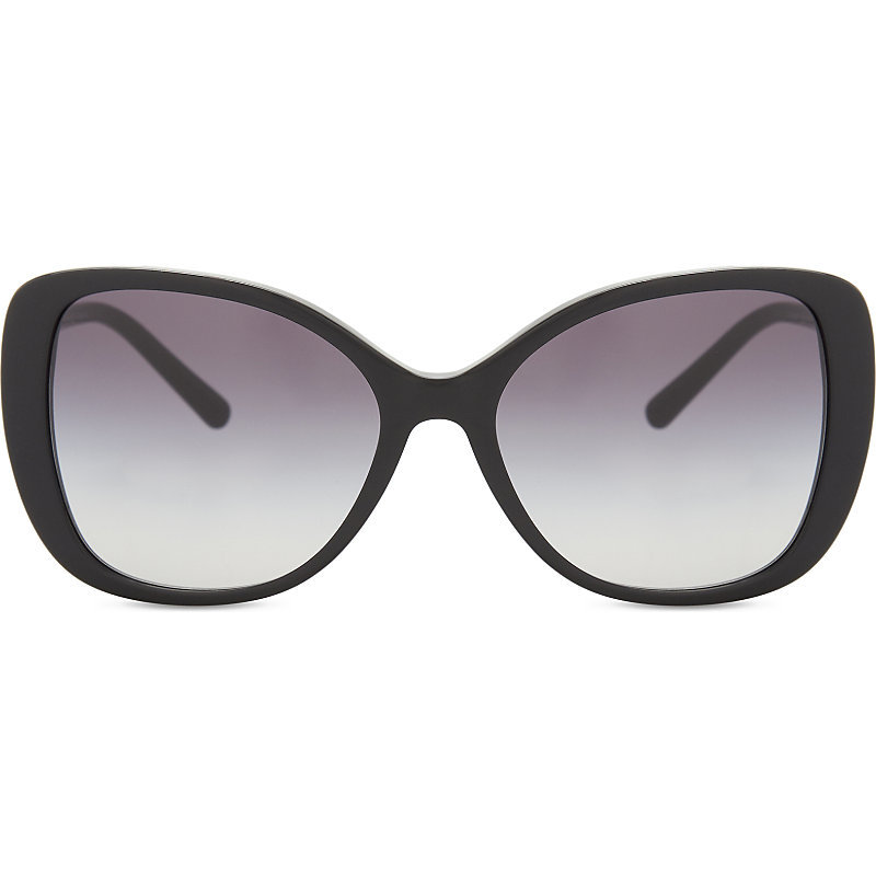 Be4238 Butterfly Frame Sunglasses, Women's, Black - predominant colour: black; occasions: casual, holiday; style: d frame; size: large; material: plastic/rubber; pattern: plain; finish: plain; wardrobe: basic; season: s/s 2017