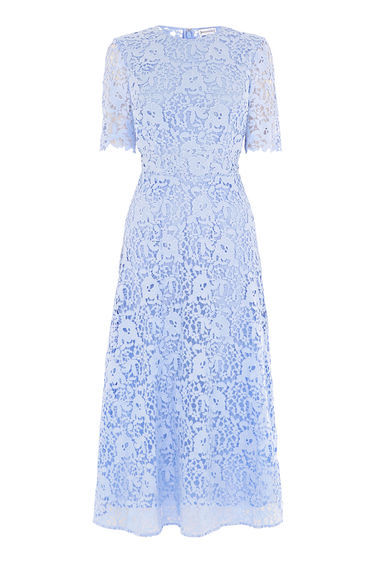 Premium Lace Sleeve Dress - length: below the knee; predominant colour: pale blue; occasions: evening, occasion; fit: fitted at waist & bust; style: fit & flare; fibres: polyester/polyamide - 100%; neckline: crew; sleeve length: short sleeve; sleeve style: standard; texture group: lace; pattern type: fabric; pattern size: standard; pattern: patterned/print; wardrobe: event; season: s/s 2017