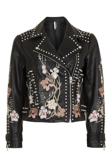 Tall Embroidered Leather Jacket - style: biker; collar: asymmetric biker; secondary colour: pink; predominant colour: black; occasions: casual, creative work; length: standard; fit: straight cut (boxy); fibres: leather - 100%; sleeve length: long sleeve; sleeve style: standard; texture group: leather; collar break: medium; pattern type: fabric; pattern size: standard; pattern: florals; embellishment: embroidered; multicoloured: multicoloured; wardrobe: highlight; season: s/s 2017; embellishment location: pattern