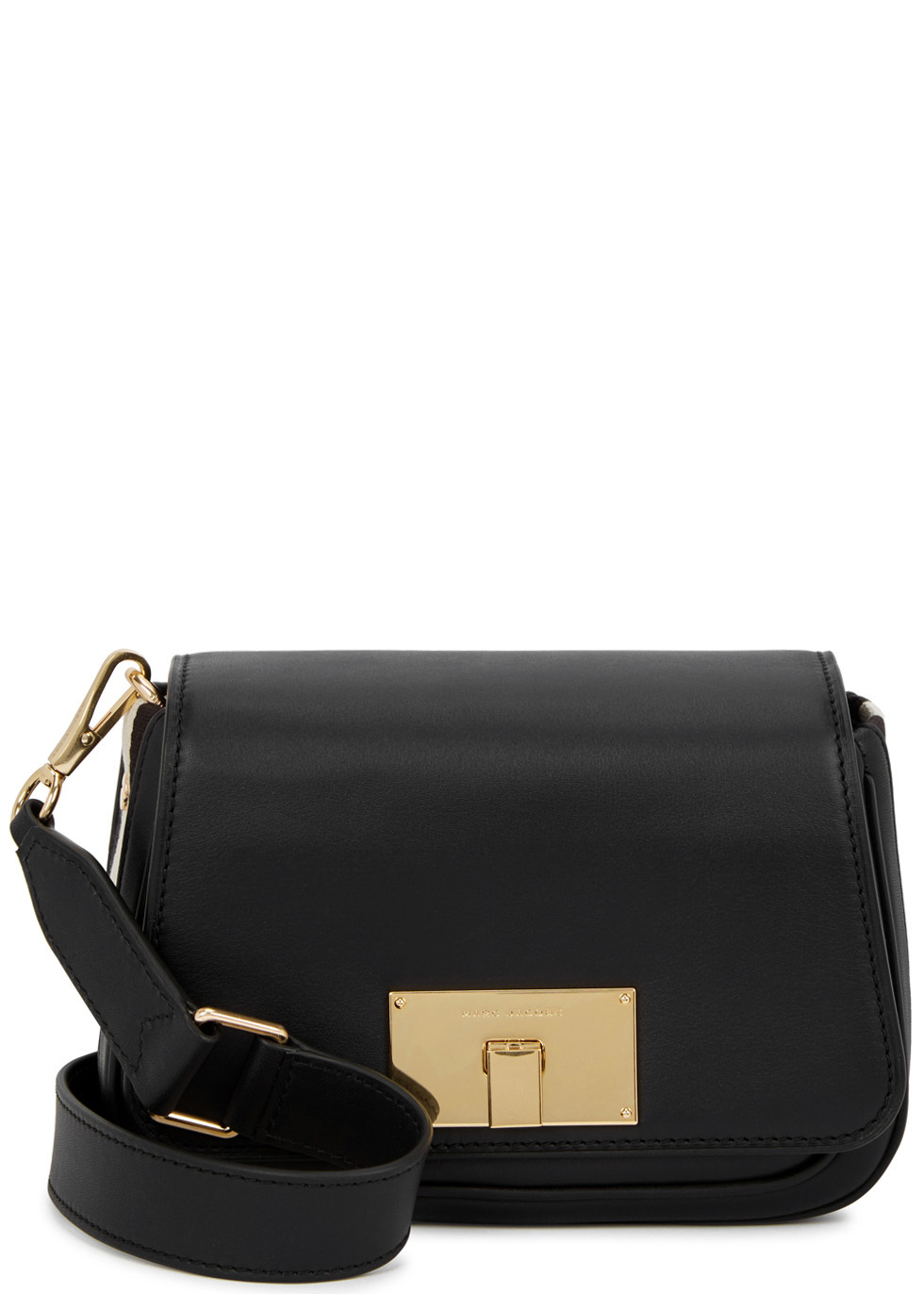 Navigator Black Leather Shoulder Bag - predominant colour: black; occasions: casual; type of pattern: standard; style: shoulder; length: shoulder (tucks under arm); size: small; material: leather; pattern: plain; finish: plain; wardrobe: investment; season: s/s 2017